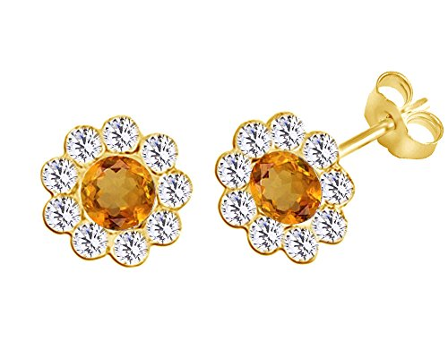 Cyber Monday Deals Simulated Citrine Flower Stud Earrings 14K Yellow Gold Over Sterling Silver