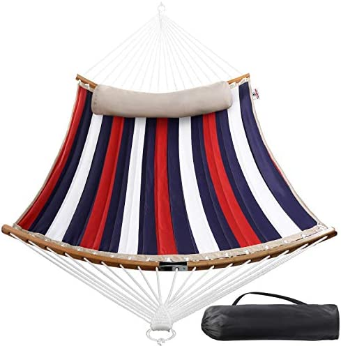 STB Double Hammock w Foldable Bar Detachable Pillow, Durable Easy to Maintain Fabric, w Convenient Carrying Bag, Curved Bar Design Ensures Comfort and Safety, 2019 All New Trinidad Red