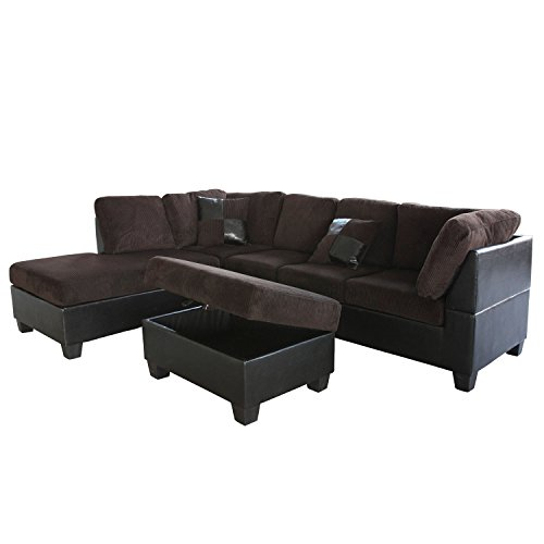 US Pride Sierra Corduroy Sectional Sofa with Storage Ottoman, Left, Chocolate Brown ()