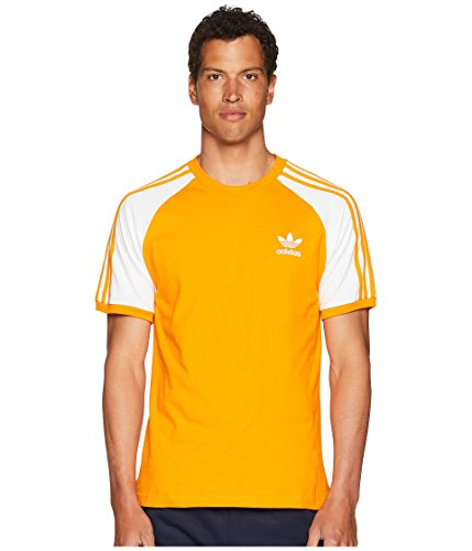 (adidas Originals Men's 3-Stripes Tee, Bright Orange, XS)