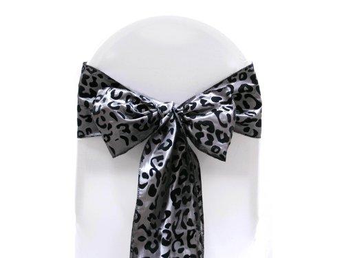 BalsaCircle 10 pcs Leopard Print Chair Sashes Bows - Black and Silver