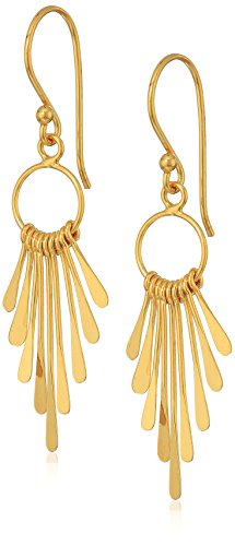 Gold Plate Wired Graduated Paddle Drop On Fish Hook Dangle Earrings