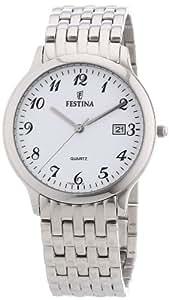 Festina F16236/1 - Reloj analógico de cuarzo para hombre con correa de acero inoxidable, color plateado