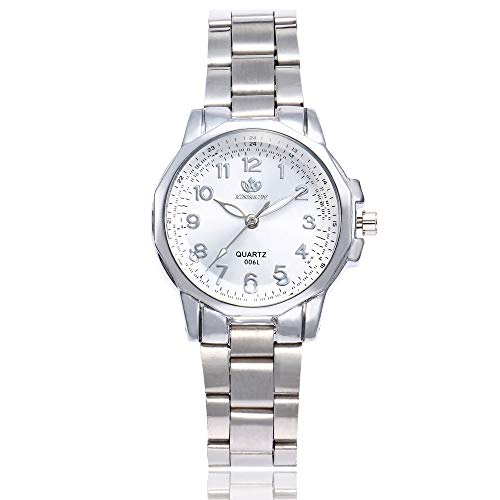 OhradWord Women Stainless Steel Band Analog Quartz Round Wrist Watch Watches,Silver ()