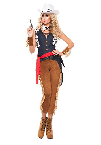 Starline Women's Wild Wild West Sexy Cowgirl Deluxe 8 Piece Costume Set, Brown/Blue, Large (2)