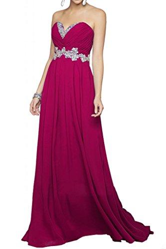 En forma de corazón de los bloques de la gasa de la Toscana hermosa novia vestidos de novia por la noche de fiesta virgen vestidos de bola de largo fucsia