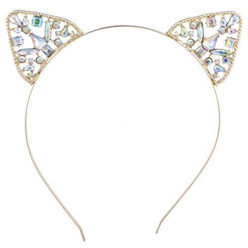 Lux Accessories GoldTone AB Cluster Stone Cat Ear Halloween Cosplay (Halloween Ears)