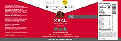 KetoLogic MRP – Keto Meal Replacement MCT Shake – Suppresses Appetite / Promotes Fat Loss / Boosts Ketones – Chocolate, 20 Servings