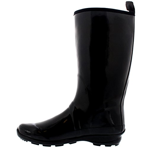 Black Sole Winter Wellies Gloss Boots Rain Rubber Tall Womens Contrast Snow q5AxCvcBw