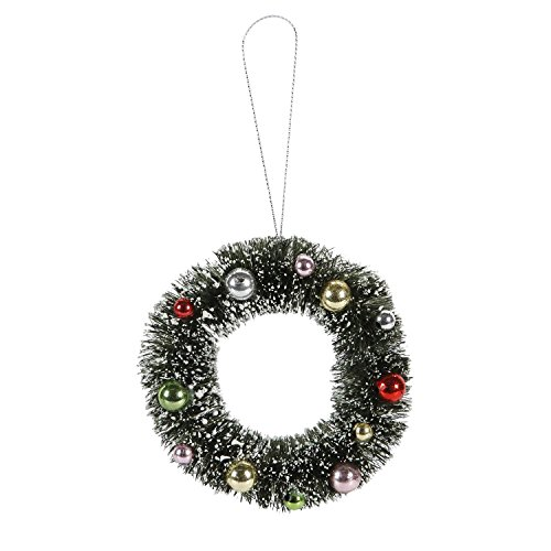 Darice 2513-356 Green Sisal Wreath with Frost and Ornaments, 4 by 1.25-Inch