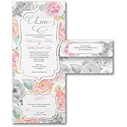 Wedding Invitations, Rosy Watercolor - Seal 'n Send Invitation