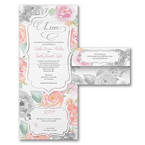 Wedding Invitations, Rosy Watercolor - Seal 'n Send Invitation -