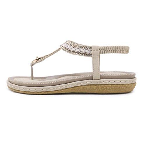 Xjp Women Girls Summer T-Strap Clip-Toe Flat Bohemian Sandals with Rhinestone Khaki mQsFULOU