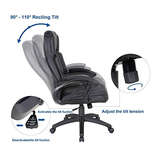 LCH High Back Executive Office Chair with Adjustable Tilt Angle - PU Leather Computer Desk Chair with Thick Padding for Comfort and Ergonomic Design for Lumbar Support by LCH (Image #4)