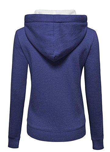 Donna Tinta Unita Felpa con Cappccio Cerniera con Zip Felpa Giacca Tasca Casua Manica Lunga Hoody Cappotto Blu