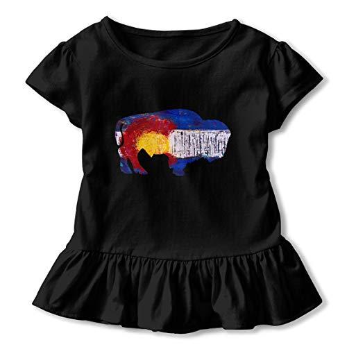 (CZnuen Colorado Buffalo Vintage Baby Girls' Basic Short Puff Sleeve Round Neck Ruffle T-Shirt 5/6T Black)