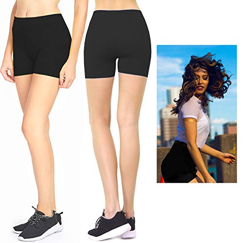 Women Biker Shorts Leggings Cycling Stretch Hot Yoga Exercise One Size Black -