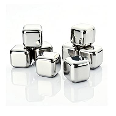 Amerzam Set of 8 Stainless Steel Whiskey Stones with Tongs,Wine,Beer,juice,Drinks