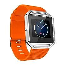 For Fitbit Blaze Watch,Haoricu Luxury Stainless Steel Watch Replace Metal Frame Watch Holder (Orange)