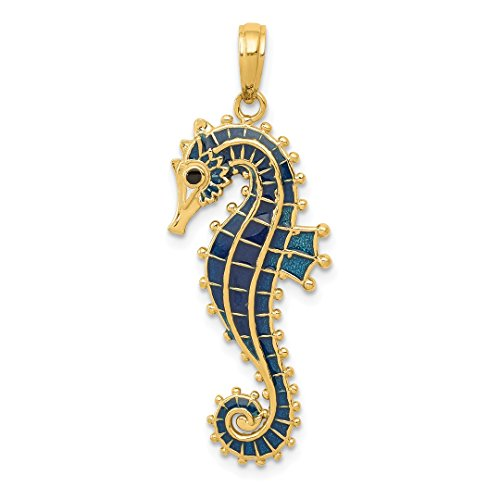 ICE CARATS 14kt Yellow Gold 3 D Blue Enameled Seahorse Pendant Charm Necklace Sea Life Fine Jewelry Ideal Gifts For Women Gift Set From (Gold 3d Horse Charm)
