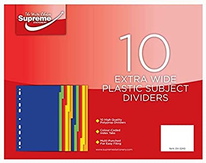Supreme Stationery – A4 extra ancho 10 parte Tab Color sujetos separadores de índice