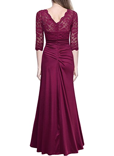 2 Floral 3 Dress wine Maxi Ruched A Lace Red Women's Miusol Retro Slim Wedding Sleeve Vintage wqXSCCR