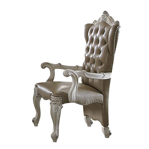 ACME Versailles Vintage Gray Faux Leather Arm Chair Set of 2 Review