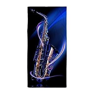 Beach Towel Modern Blue Saxophone Design 30 x 60 Inches Machine Washable, Perfect for College Dorm, Pools, Gyms, Beaches, Locker Rooms, Bathroom Shower Wrap, Beach Wrap, Bath Wrap, Spa Wrap