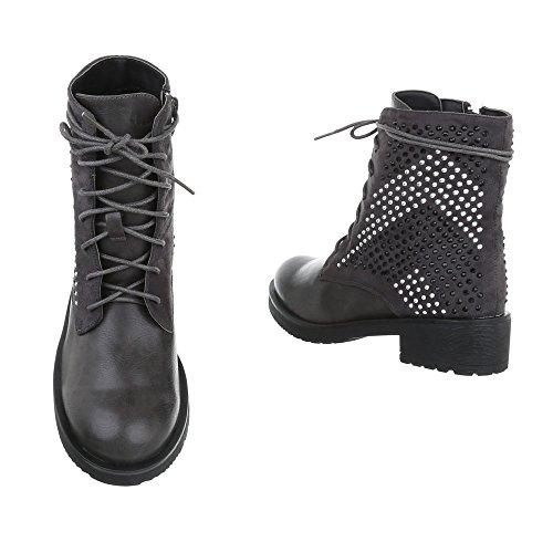 Elegante Stiefel   Damen Boots   Elegante Spitze Stiefel   Stilettoabsatz Langschaft Stiefel   Leder-Optik Stiefel   hochwertige Stiefel   Schuhcity24 Grau