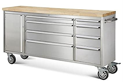 72u0026quot; Stainless Steel Rolling Tool Cabinet W/ Wood Top