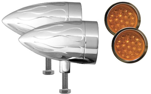 Adjure NS11919-3 Beacon 1 Amber Lens 3-Wire Flush Mount Flamed Chrome Target LED Motorcycle Bullet Light - Pair