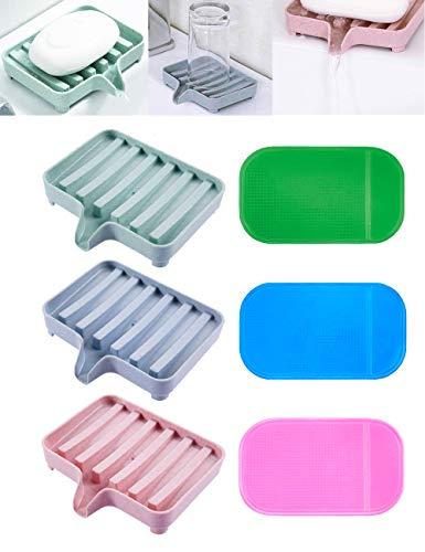 EUICAE SoapDish Bar Soap Holder Soap Dishes Tray Saver Case Box for Shower Bathroom Kitchen Dish Drainer Drying Rack Pack of 3 +3 Slip ResistantAnti-Slip Pads