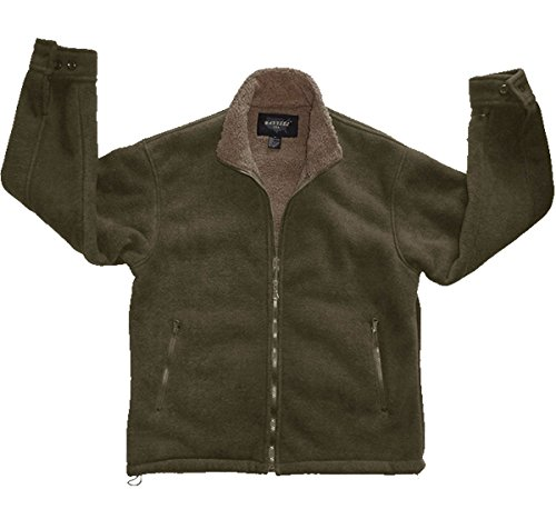 Woodland Supply Co. Men's Polar Fleece Sherpa Lined Zip Up Jacket,X-Large,Olive/Taupe