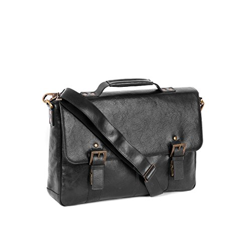Boconi Becker Flap Dispatch Business Case (Black w/ Khaki and Gingham) by Boconi