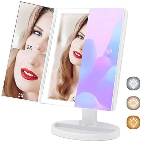 Large Makeup Vanity Mirror with 3 Color Lighting, COSMIRROR Trifold Lighted Makeup Mirror with 88 LED Lights and 1X 2X 3X Magnification, 360 Rotation Cosmetic Light Up Mirror With with 3 Color Light