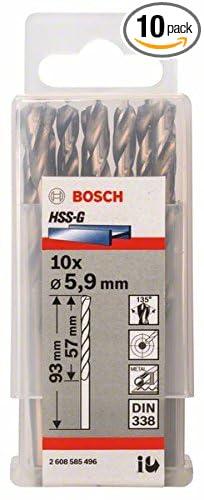 Bosch 2608585496 Metal Drill Bit Hss-G 5 9mmx57mmx3.66In 10 Pcs