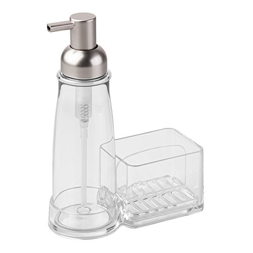 InterDesign Clarity Kitchen Soap Dispenser Pump and Sponge & Scrubby Caddy Countertop Organizer - Clear/Brushed