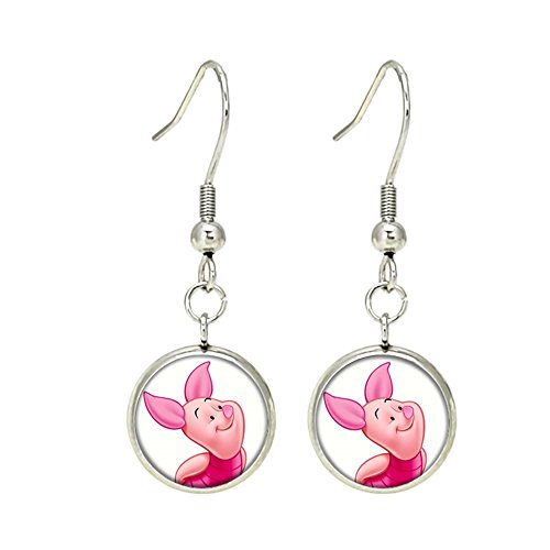- Piglet Disney Premium Quality Silvertone Dangle Earrings Winnie the Pooh
