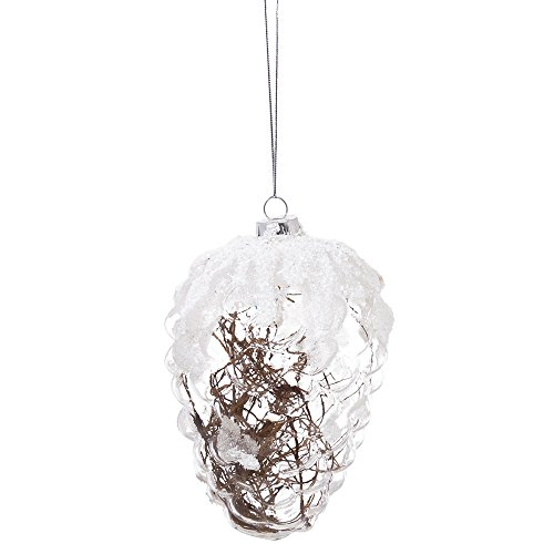Cypress Home 3OTG124 Rustic Snowy Pinecone Clear Glass Ornament, White