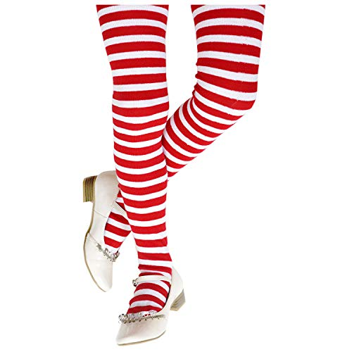 Funny Party Hats Christmas Tights for Kids - Candy Tights Girls - Red and White Striped Tights - Costume Tights - Costume Accessories (Children's Red & White Striped) -