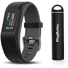 Garmin vivosport (Slate/Large) Bundle with PlayBetter Portable Power Bank (2200mAh) | On-Wrist Heart Rate, 24/7 Activity Tracker, Color Display | GPS Fitness Band