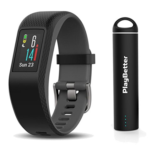 Garmin vivosport (Slate/Large) Bundle with PlayBetter Portable Power Bank (2200mAh) | On-Wrist Heart Rate, 24/7 Activity Tracker, Color Display | GPS Fitness Band by PlayBetter