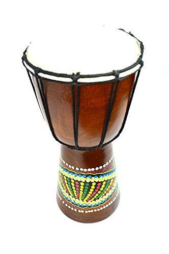 16'' Djembe Drum Bongo Hand Carved African Aboriginal Dot Art Design by WorldBazzar