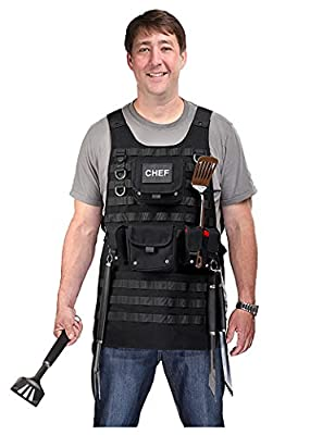ThinkGeek Tactical Molle Apron - 2 Large Pouches and 3 Smaller Pouches, Front and Back Removable Velcro Patch with Adjustable Side Strap for the Perfect Fit