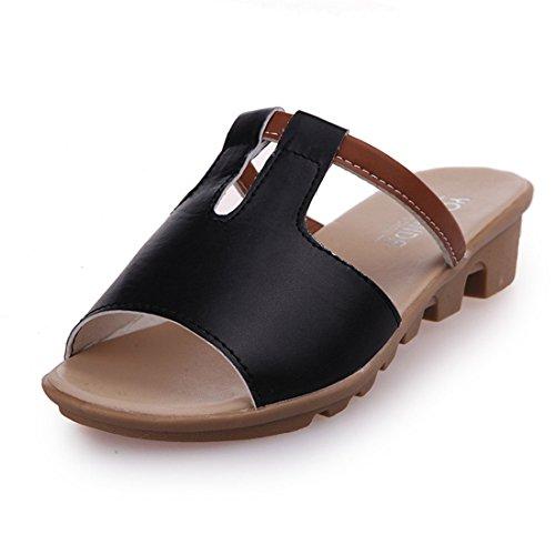 Pantofole Casual Da Donna In Pelle Da Spiaggia Estiva In Pelle 1087 Nere
