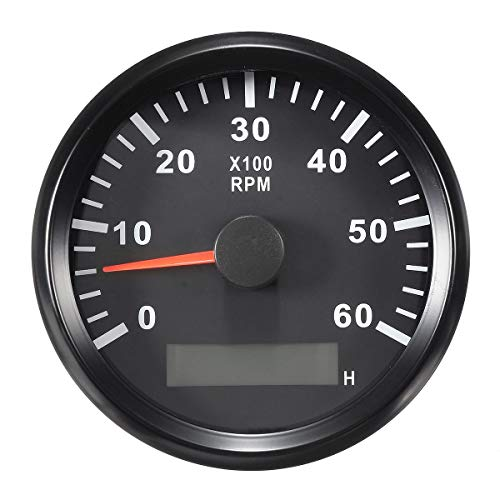 ELING Tachometer RPM Tacho Gauge with Hour Meter for Car Truck Boat Yacht 0-6000RPM 85mm with -