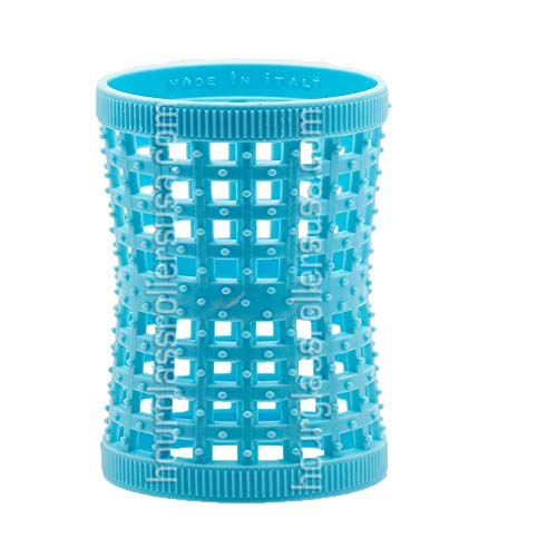 NO PINS included - Blue 37mm/1.46in - Pack of 12 -HOURGLASS/TENSION HAIR ROLLERS