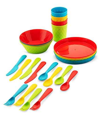 Plaskidy Kids Dishes, 24 pc Plastic Dinnerware Set - Kids Plates, Kids Cups, Kids Bowls + kids Utensils, Kids Dinnerware Set, Reusable, Microwave/Dishwasher Safe, BPA-Free, Great for Camping Dishes