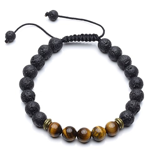 CrystalTears Tiger Eye Lava Stone Diffuser Bracelet Reiki Healing Crystals Aromatherapy Essential Oil Diffuser