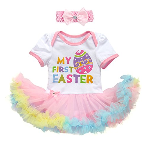 Baby Girls 1st Easter Outfit Bunny Eggs Romper Dress with Ruffle Tulle Skirt + Bow Headband 2Pcs My First Easter Tutu Set Cute Rabbit Costume for Birthday Cake Smash Party Photo Shoot White Eggs 6-12M -